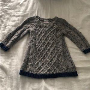 Joe Sweater Dress Gray w/ sparkle blue trim 12-18M